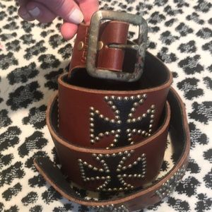 Black with gold studs on a brown leather belt!!